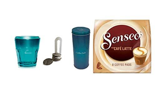 Kaffeepads Café Latte mit Becher von James Premium® TÜ + Kaffeepaddose/Vorratsdose,