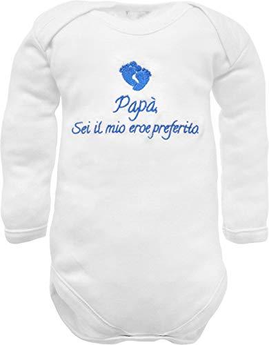 Body de bebé de manga larga con bordado con frase «Papà sei il mio héroe con pedi bordado rosa», idea de regalo para nacimiento de niño bianco manica lunga 6-9 Meses