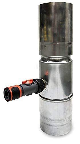 N.N Rheinzink Regenwassersammler Regendieb für das Fallrohr. Mit Gardena Schlauchanschluss. (Zink Walzblank 100mm) Zum befüllen von Regenfässern, Zisternen, Wassertonnen -Made in Germany-