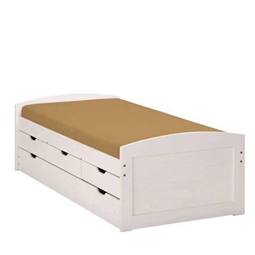 Pharao24 Bett Valuta mit Ausziehliege Breite 205 cm Liegefläche 90x200 Ausziehbett 90x200