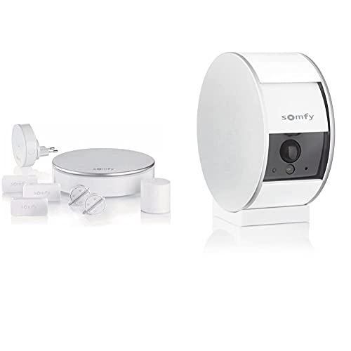 SOMFY 2401497 Home Alarm, Alarma para Casa, Sistema Inalámbrico Anti Robo+ 2401507A Indoor Camera, Cámara Vigilancia WiFi, Full HD, Micrófono, Altavoz Y Sensor De Movimiento