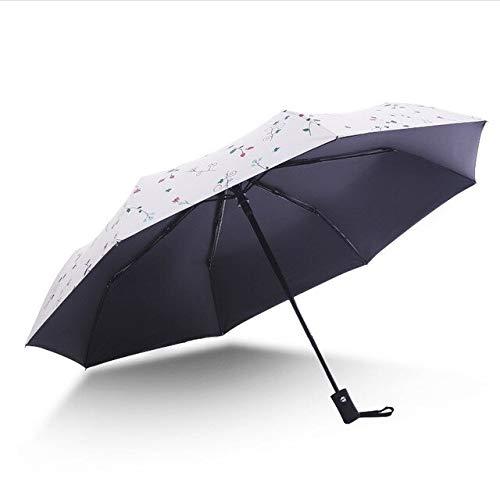 NJSDDB paraplu Automatische anti-UV zonnescherm kleine verse vrouwelijke drie opvouwbare paraplu dual-use ultra-licht zwarte coating zonnebrandcrème paraguas, Beige