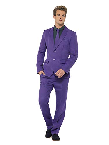 Smiffys, Herren Lila Anzug, Jackett, Hose und Krawatte, Größe: M, 43527