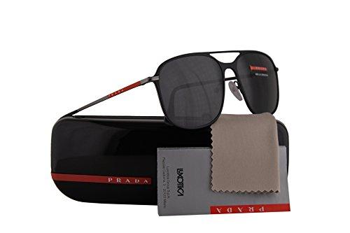 Prada PS53TS gafas de sol de bronce de cañón de goma de caucho w / 56mm Lente gris DG05S0 SPS53T PS 53TS MSF 53T hombre Negro Grande