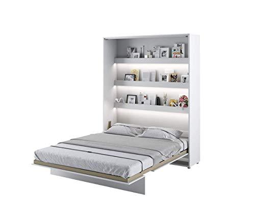 Schrankbett Bed Concept, Wandklappbett mit Lattenrost, V-Bett, Wandbett Bettschrank Schrank mit integriertem Klappbett Funktionsbett (BC-12, 160 x 200 cm, Weiß/Weiß, Vertical)