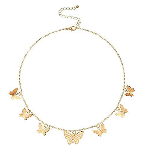 Janly Clearance Sale Collar colgante de aleación tridimensional mariposa para mujer, accesorios de moda, decoración del hogar para el día de Pascua (F)