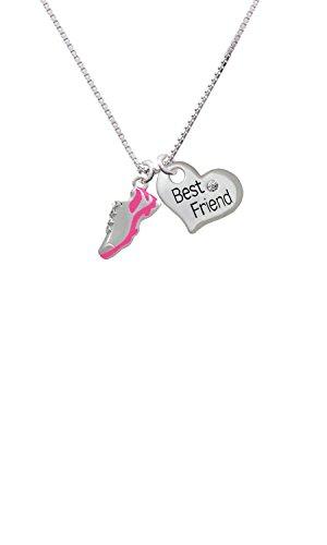 Cheer Bunny Hot Pink Running Shoe - Best Friend Heart Necklace