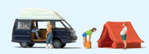 Preiser 33258 Camping Mitsubishi L300 und Zelt mit Figuren 1:87