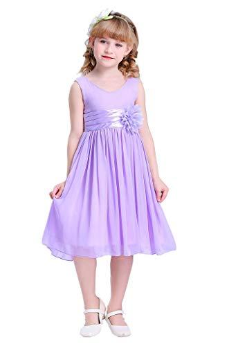 Bow Dream Flower Girl Dress Junior Bridesmaids V-Neckline Chiffon Lavender 16