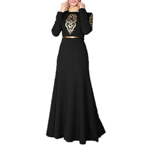 huateng Frauen gedruckt Bouquet Taille Kleid Frauen muslimischen arabischen islamischen Nahen Osten Lange Robe Kleid mit Gürtel