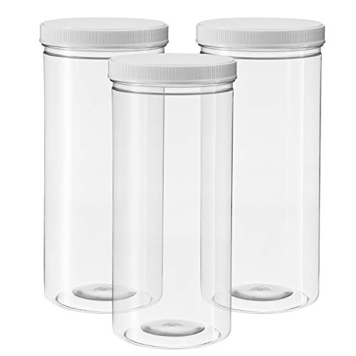 80 Ounce Tall Clear Empty Plastic Jars with Screw-on Lids & Labels - Pack of 3 Large 2.5 quart 10 cup capacity Containers - BPA Free Airtight Leak Proof Canisters - Food Grade Refillable Holder -