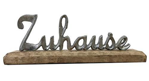 Vogt Foliendruck GmbH Aufsteller Schriftzug Zuhause auf Mango - Holz ca. 30 x 10 x 5 cm Schrift braun/Silber