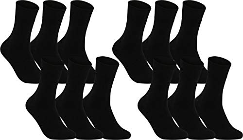Vitasox 13312 Damen Socken Damensocken Ges&heitssocken Baumwolle ohne Gummi ohne Naht schwarz 12er Pack 39/42