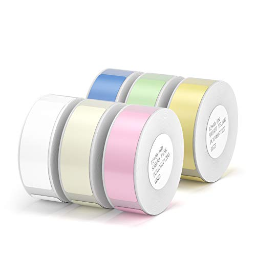 Label Maker Tape NIIMBOT D11 6 Rolls Adapted Cable Label Print Paper Standard Laminated Office Labeling Tape Replacement for D11 Handheld Label Machine Oil Proof Waterproof Tearproof