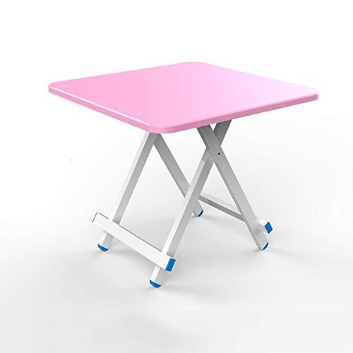 GXCIHGIUHUI GXC klaptafel, vierkant, hoogwaardig, tafel van hout en aluminiumlegering, materiaal van massief hout, draagbare slaapzak, multifunctioneel 80cm Roze