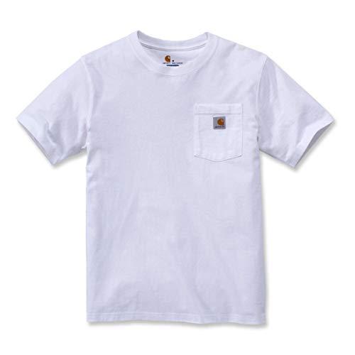 Carhartt Pocket Short-Sleeve T-Shirt Camiseta, White, S para Hombre