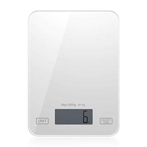 LIXUDECO Báscula de alimentos para hornear, mini compacta, 5 kg/1 g, básculas electrónicas de cocina, vidrio para el hogar, báscula de cocina Balck Tgk-001 (color: blanco)