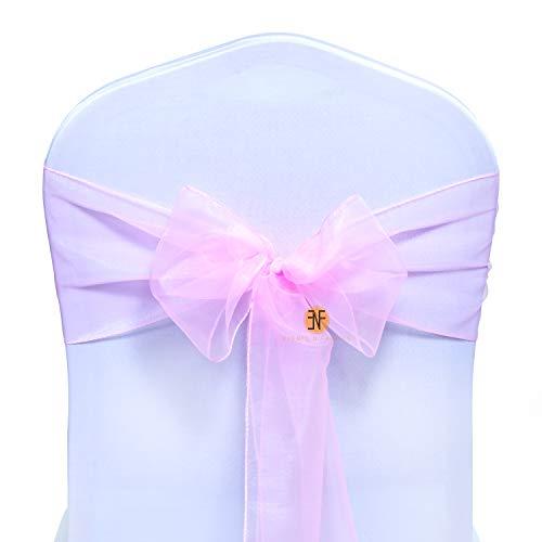 Paquete de 50 Silla Organza Completo Lazo Bandas - Semi-Transparente Tela Cubiertas con Minimal Shee