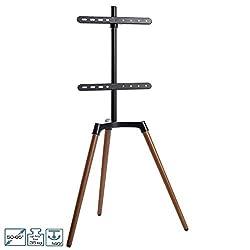 EasyLife - Design STAFFELEI Tripod TV-Stativ - Halterung bis 65'' Zoll & 35 kg Fernseher o. Monitor - 140° Schwenkbar - Höhenverstellbarer Ständer inkl. Kabelmanagement - VESA Adapter bis 400x400