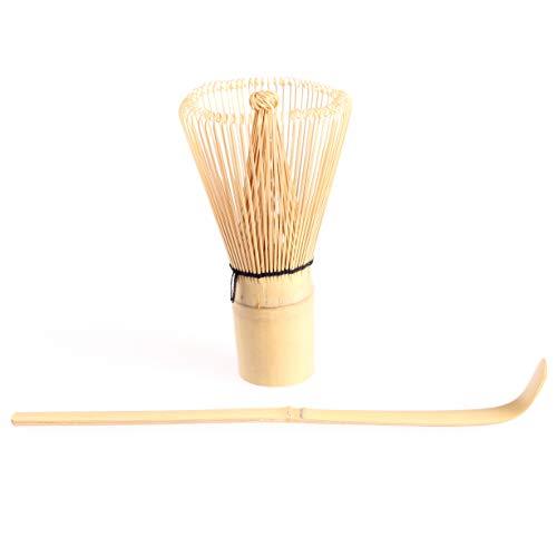 Goodwei Matcha Set: Japanischer Matcha-Besen Chasen und Matcha-Löffel Chashaku aus Bambus (80 Weiß)