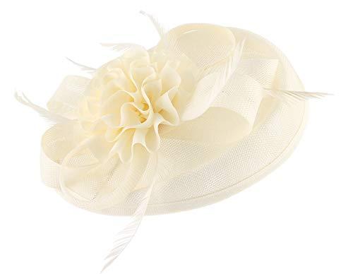 GEMVIE Damen Faszinator Federhut Brauthut Feder Blumen Kopfschmücke Haar Clip Hut für Party Kirche Hochzeit Festival Beige