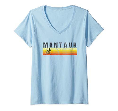 Womens Montauk Long Island T-Shirt - Vintage Style Beach V-Neck T-Shirt