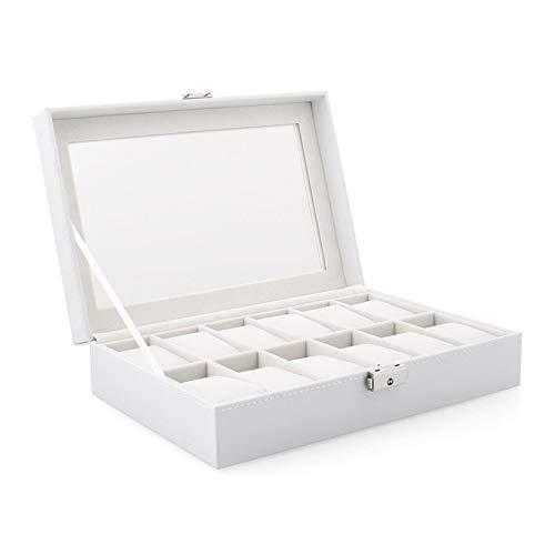 Cajón para guardar relojes y joyas Tenedor de reloj de reloj de reloj de reloj de reloj de reloj de reloj con caja de reloj de tapa de vidrio con reloj extraíble almohada de terciopelo de almohada Rev