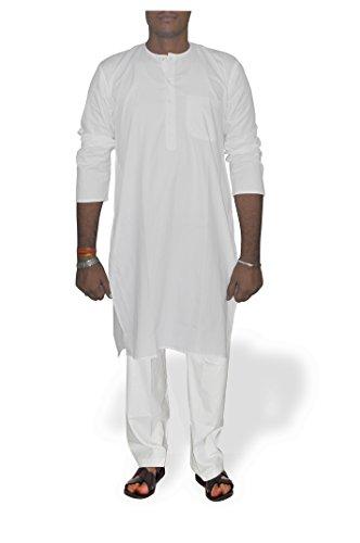 DakshCraft Abbigliamento da Yoga in Cotone, Uomo Bianco X-Large