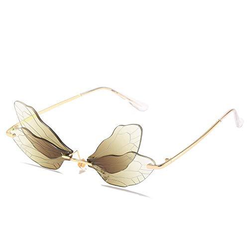 Único Gafas de Sol Sunglasses Gafas De Sol Sin Montura A La Moda para Mujer, Gafas De Sol Steampunk con Libélula Vintage