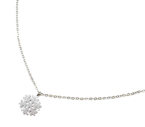 Oh My Shop CC2257F - Collana sottile con ciondolo a forma di fiocco di neve, in acciaio argentato