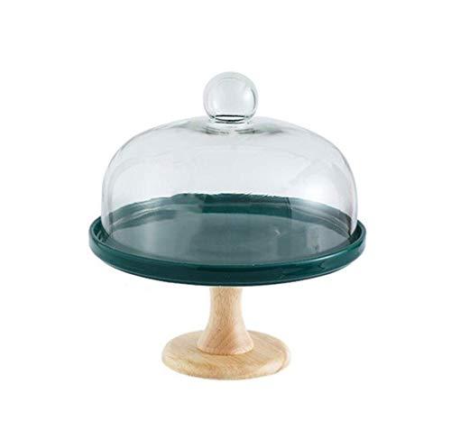 YNHNI Juego de estante para aperitivos, plato de cerámica y cubierta de polvo de cristal, para cocina, ensalada, bóveda de fiesta, bandeja de postre, 19,5/24/27,5 cm (tamaño: 27,5 x 27,5 x 28 cm)