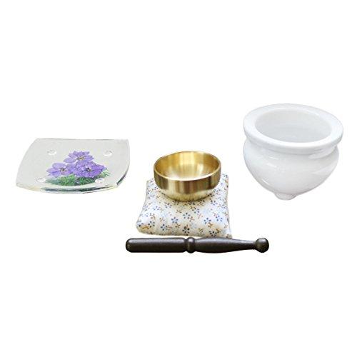 ペット仏具 供物皿 季節の押し花 & おりん & ミニ香炉 香炉灰つき (3月 デルフィニウム)