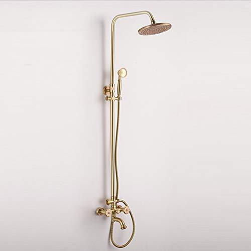 Retro Dusche-Set im europäischen Stil,Wandmontage/Bronze/Dose drehen Heben Einfache Atmosphäre,Goldfarbe Einzelgriff Doppelsteuerung,Haushaltsbadezimmer-Dusche