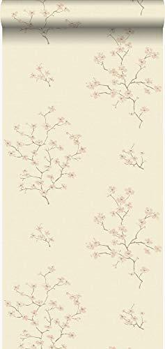 behang bloesemtak beige en roze - 346545 - van Origin - luxury wallcoverings