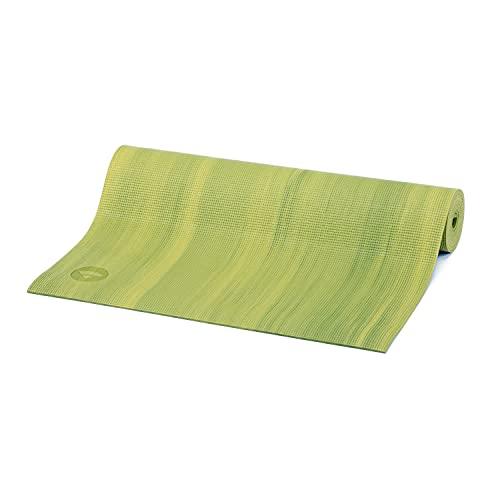Yogamatte GANGES mit OEKO-TEX, Allround-Matte für Yoga, Gymnastik & Pilates mit guter Dämpfung, griffig und rutschfest in 5 bunten Farben (grün/gelb)