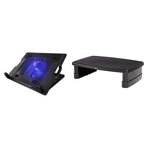 Ewent EW1258 Base de refrigeración para Ordenador portátil de 12 a 17 Pulgadas con 2 Puertos USB, 1 Ventiladores, luz LED Azul + Amazon Basics - Soporte Ajustable para Monitor