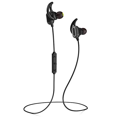 Phaiser BHS-760 Bluetooth Headphones, Magnetic Wireless Sport Headset for Running, Sweatproof Cordless Earphones with Mic for Working Out, Comfortable Earbuds for Exercise, Blackout