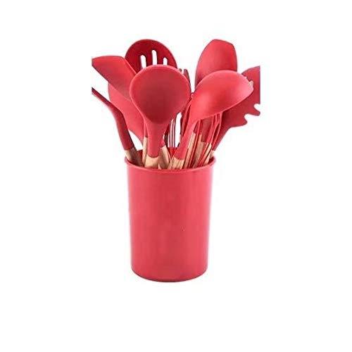 Juego de utensilios de cocina de silicona resistente a altas temperaturas con mango de madera, 11 piezas