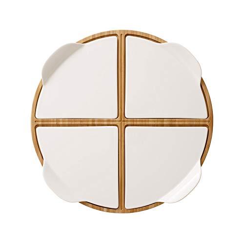 Villeroy & Boch Pizza Passion Plato de pizza para fiesta, 5 piezas, Redondo, Bambú/Porcelana Premium, Blanco