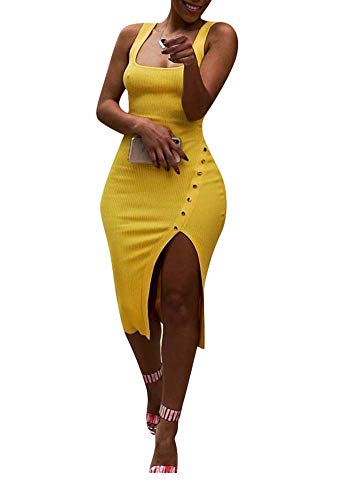 Remelon Womens Sexy Sleeveless Tank Ribbed Slim Fit Bodycon Buttons Side Split Long Pencil Midi Dress Yellow S