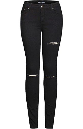 2LUV Women's Trendy Distressed 5 Pocket Denim Skinny Jeans Black 1