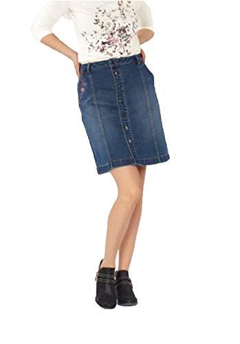 TOM TAILOR Jeans-Rock kurzer Damen Freizeit-Rock mit druchgehender Knopfleiste Denim Mode-Rock Blau, Größe:40