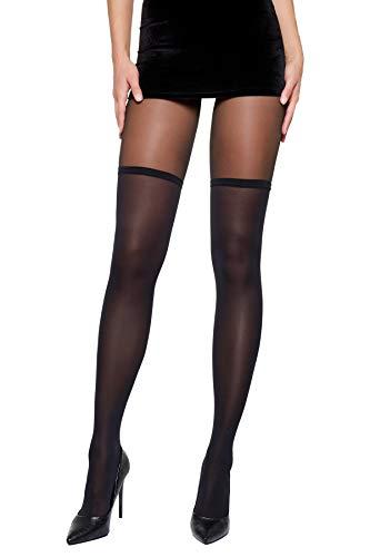 Selente Lovely Legs raffinierte Damen Strumpfhose in Strapsstrumpf-Optik, 40 DEN, made in EU, schwarz-Overknee-Look, Gr. M