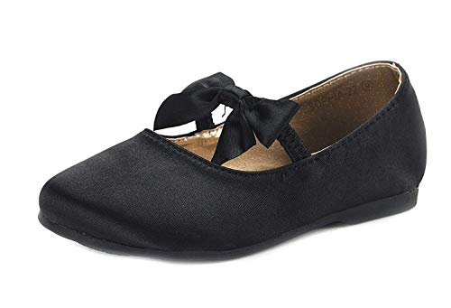 DREAM PAIRS Sophia-22 Adorables Mary Jane Front Bow Elastic Strap Ballerina Flat Little Kid New Black Size 13