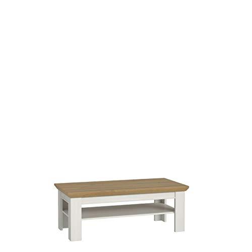 FORTE salontafel, woonkamertafel, hout, 120 x 45 x 60 cm, met legvlak, sneeuweiken decor, gecombineerd met oude eiken, één maat