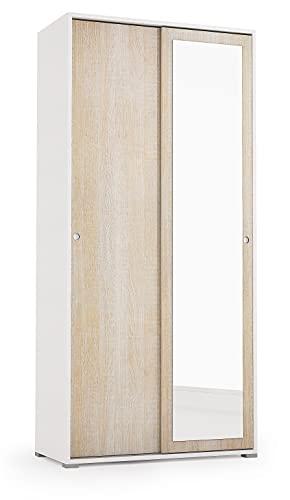 Armadio con Specchio, e Ante Scorrevoli, Colore Bianco e Rovere, Mis. 90 x 45 x 195 cm