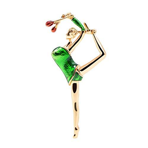 PicZhiwenture Brosche 3 Farben Erhältlich Emaille Gymnastic Girl für Frauen Mode Nette Dame Schmuck Sommer Stil Zubehör Geschenk-Geen