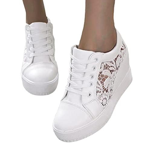 Minetom Zapatillas Mujer Zapatillas De Deporte Bordadas De Encaje Ocio Zapatos De Lona Plataforma Zapatos Deportivos Transpirables con Cordones Zapatillas D Blanco 35 EU