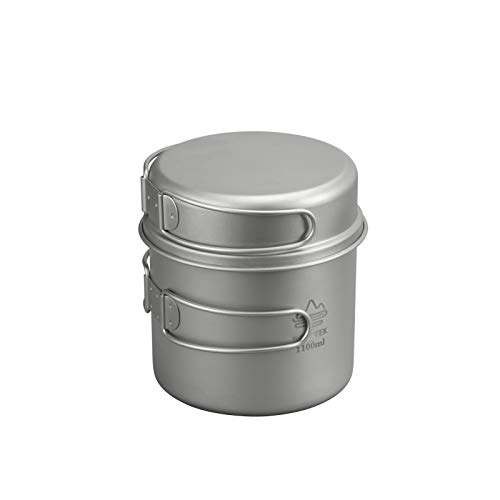 ROCREEK Titanium 1100ml Pot with 350ml Pan 2-Piece Cookware Set for Backpacking Camping Hiking
