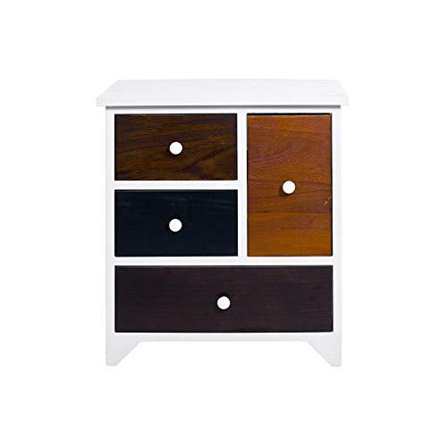 Rebecca meubelstuk badkamerkast met 4 schuifladen keuken Paulownia mdf hout wit vintage retro - afmetingen: 52 x 47 x 33 cm (h x b x d) - artikelnummer: RE4338.